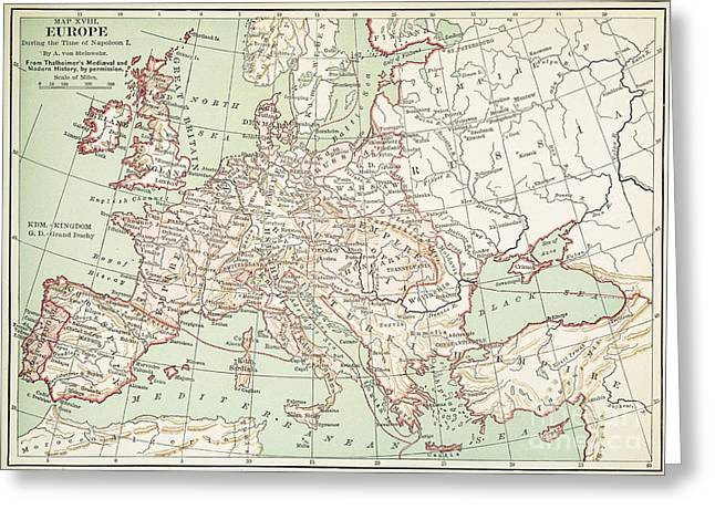 German Map Greeting Cards - MAP OF EUROPE, c1812 Greeting Card by Granger
