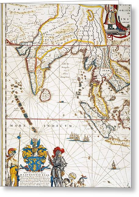 Atlas Paintings Greeting Cards - South Asia Map, 1662 Greeting Card by Granger