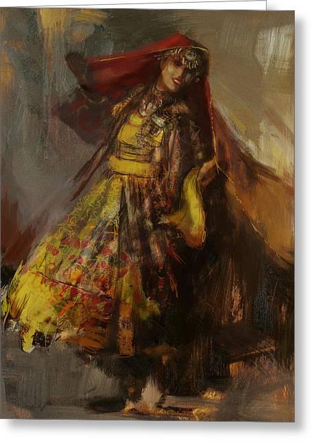 Hijabs Art Greeting Cards - 008 Pakhtun B Greeting Card by Mahnoor Shah