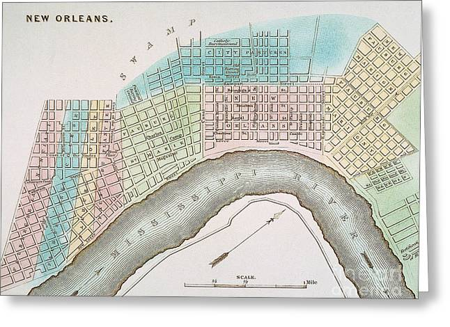 Antebellum Greeting Cards - New Orleans Map, 1837 Greeting Card by Granger