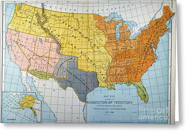Destiny Paintings Greeting Cards - U.s. Map, 1776/1884 Greeting Card by Granger