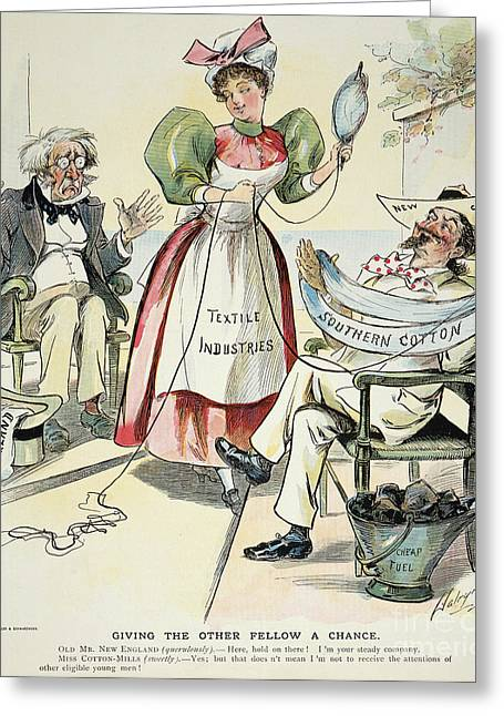 Distaff Greeting Cards - New South Cartoon, 1895 Greeting Card by Granger