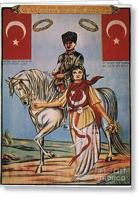 Political Allegory Paintings Greeting Cards - Republic Of Turkey: Poster Greeting Card by Granger