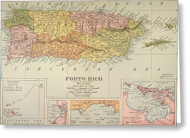Puerto Rican Greeting Cards - Map: Puerto Rico, 1900 Greeting Card by Granger