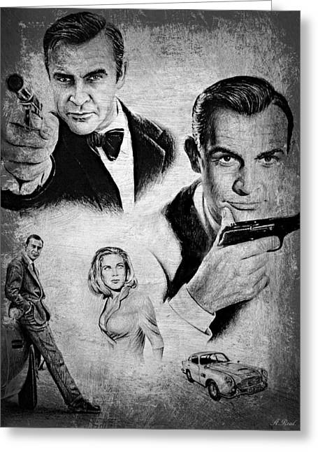 007 Connery Greeting Card by Andrew Read