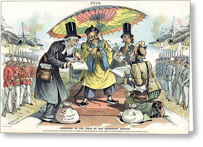 Dalrymple Greeting Cards - Missionary Cartoon, 1895 Greeting Card by Granger