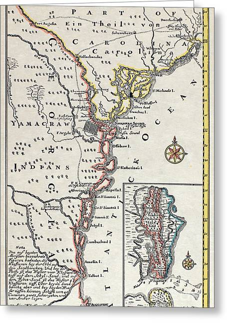 18th Century Greeting Cards - MAP: NORTH AMERICA, c1700 Greeting Card by Granger