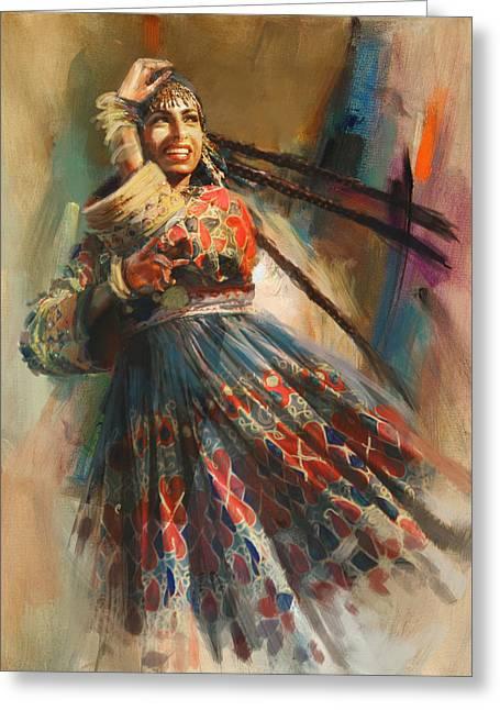 Hijabs Art Greeting Cards - 010 Pakhtun B Greeting Card by Mahnoor Shah