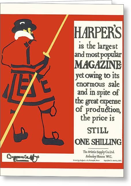 Harpers Magazine Greeting Card by Beggarstaffs