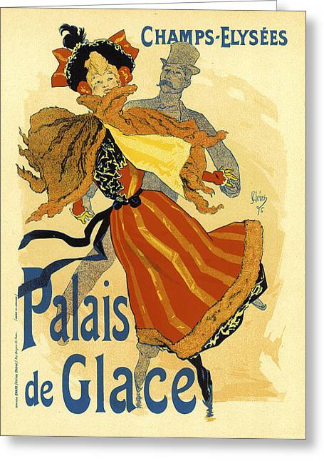 Woman In A Dress Greeting Cards - Palais de Glace Ice Palace Greeting Card by Edward Penfield