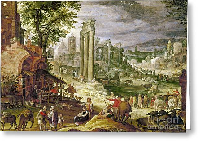 Gathering Greeting Cards - Roman Forum, 16th Century Greeting Card by Granger