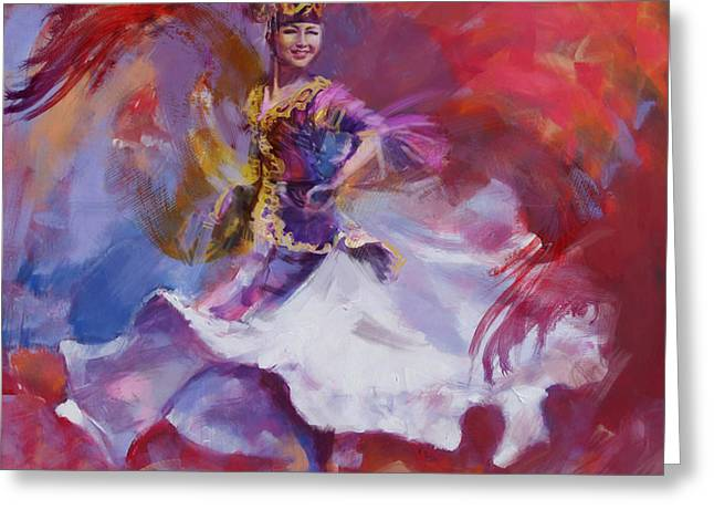 Art Exhibition Greeting Cards - 014 Kazakhstan Culture Greeting Card by Maryam Mughal