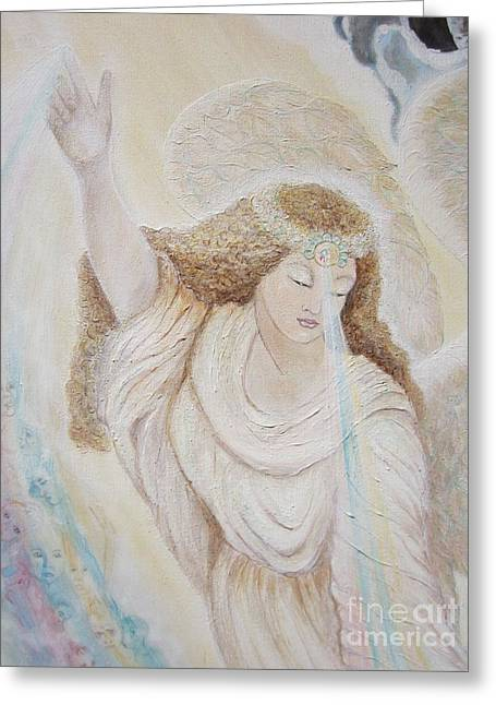 Flying Angel Greeting Cards - 015 a 57.17 Angel of Mercy  Greeting Card by Sigrid Tune