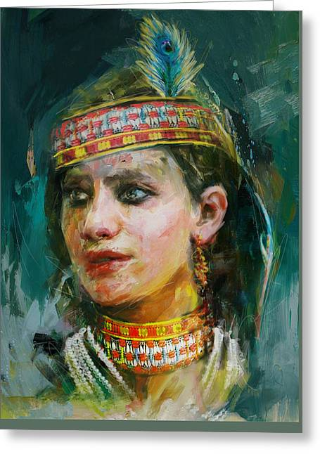 Art Exhibition Greeting Cards - 015 Kazakhstan Culture Greeting Card by Maryam Mughal