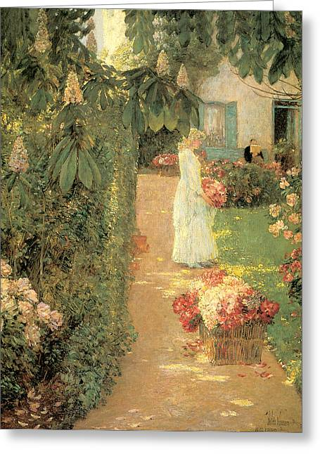 French Doors Greeting Cards - Gathering Flowers in a French Garden Greeting Card by Childe Hassam