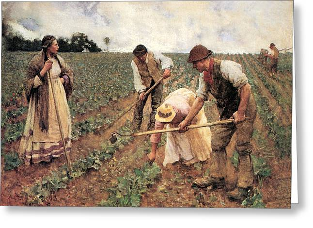 Sun Hat Greeting Cards - Hoeing Turnips Greeting Card by George Clausen