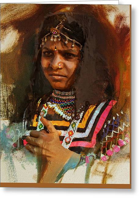 Hijabs Art Greeting Cards - 025 Sindh b Greeting Card by Maryam Mughal
