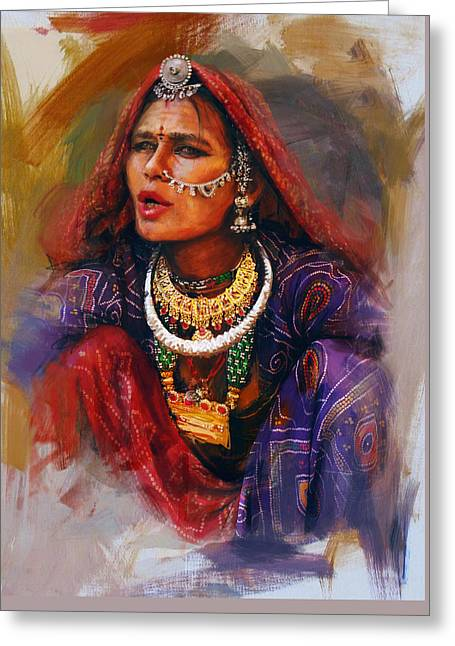 Artwork Of Women Greeting Cards - 027 Sindh Greeting Card by Mahnoor Shah