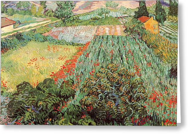 Old Masters Greeting Cards - Field with Poppies Greeting Card by Vincent Van Gogh