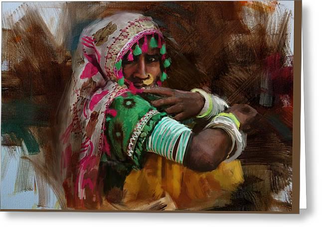 Hijabs Art Greeting Cards - 029 Sindh Greeting Card by Maryam Mughal