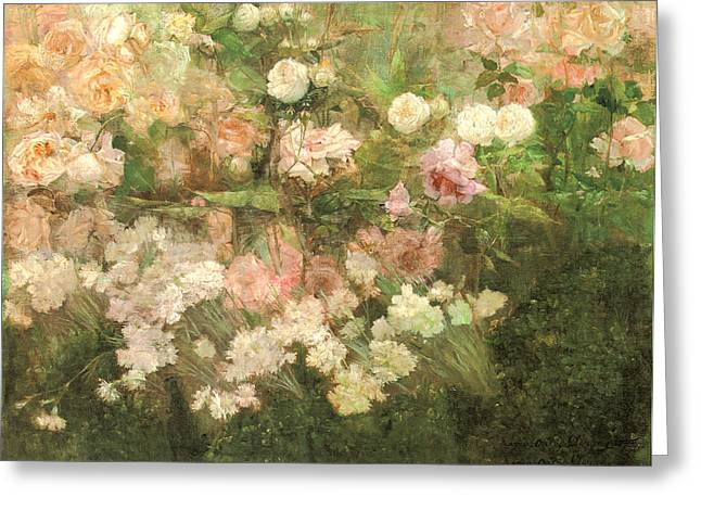 League Paintings Greeting Cards - Garden In May Greeting Card by Maria Oakey Dewing