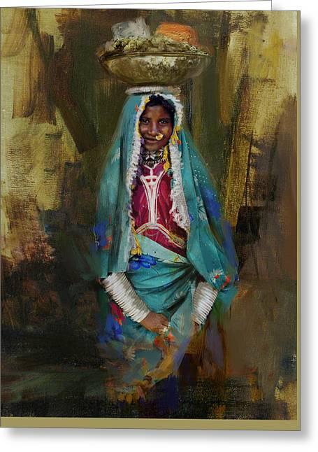 Hijabs Art Greeting Cards - 030 Sindh Greeting Card by Maryam Mughal