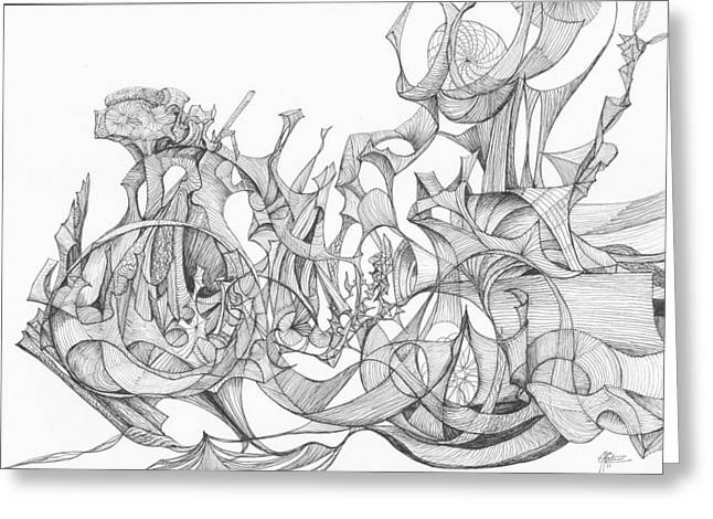 Organic Drawings Greeting Cards - 0311-1 Greeting Card by Charles Cater