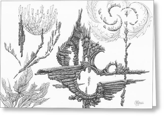 Organic Drawings Greeting Cards - 0311-4 Greeting Card by Charles Cater