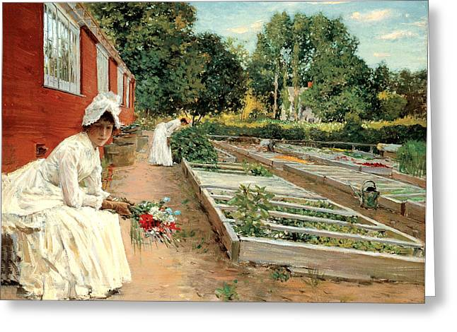 Woman In A Dress Greeting Cards - A Visit To The Garden Greeting Card by William Merritt Chase