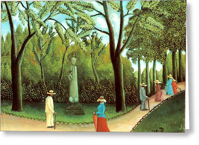 Red Skirt Greeting Cards - Luxembourg Garden Greeting Card by Henri Rousseau