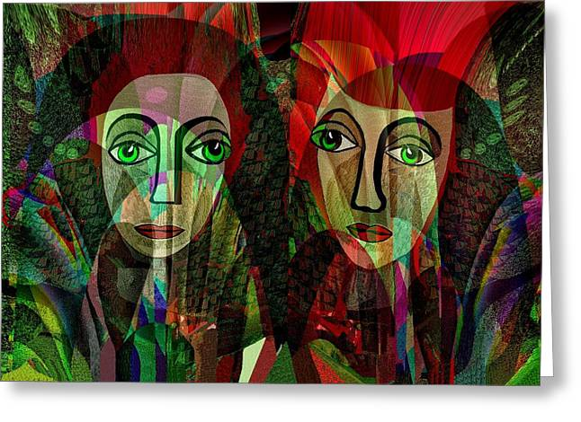 Pensive Digital Greeting Cards - 039 - Two pensive women Greeting Card by Irmgard Schoendorf Welch