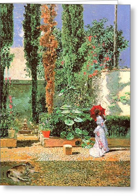 Woman In A Dress Greeting Cards - Fortunys Garden Greeting Card by Mariano Fortuny
