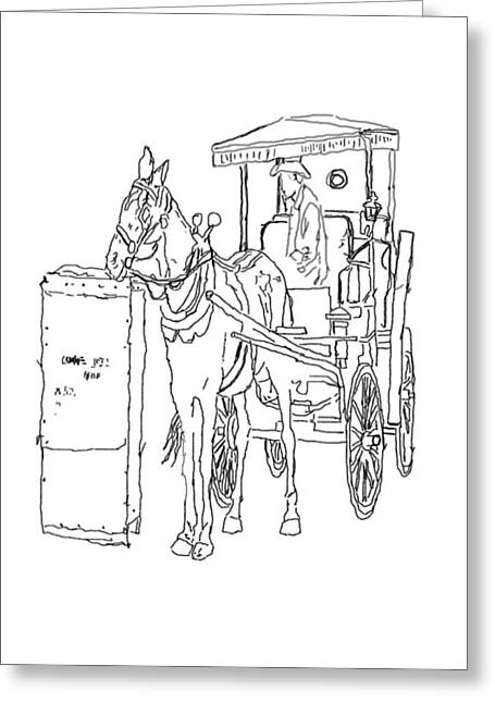 Horse And Buggy Drawings Greeting Cards - 04061025 Horse And Buggy Greeting Card by Garland Oldham