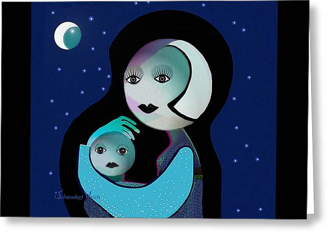 Gimp Greeting Cards - 042 - Moon Mother Child  ... Greeting Card by Irmgard Schoendorf Welch