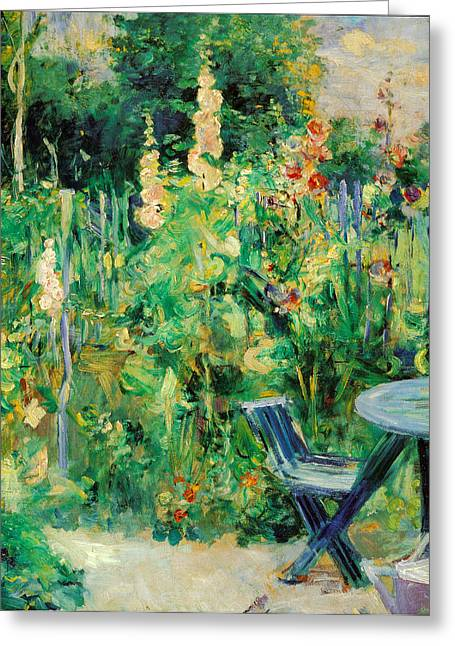 Table And Chairs Paintings Greeting Cards - Hollyhocks Greeting Card by Berthe Morisot