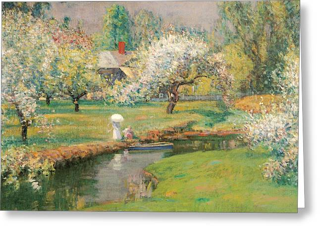 Old Masters Greeting Cards - Lady with a Parasol by a Stream Greeting Card by Theodore Wendel