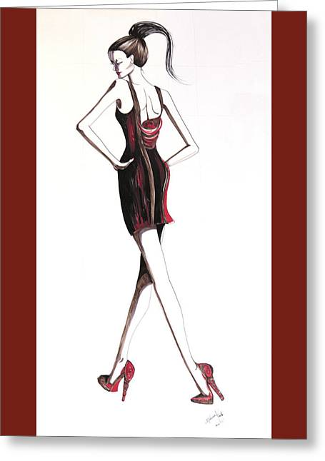 Evening Dress Drawings Greeting Cards - 05 Greeting Card by Malusa  Pinto