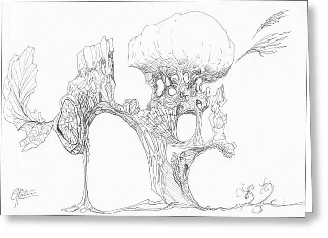 Organic Drawings Greeting Cards - 0511-12 Greeting Card by Charles Cater