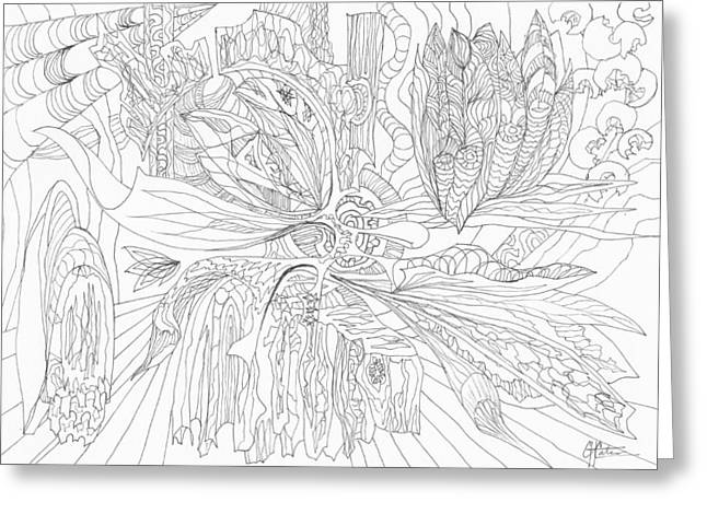 Organic Drawings Greeting Cards - 0511-25 Greeting Card by Charles Cater