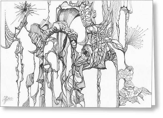 Organic Drawings Greeting Cards - 0511-28 Greeting Card by Charles Cater