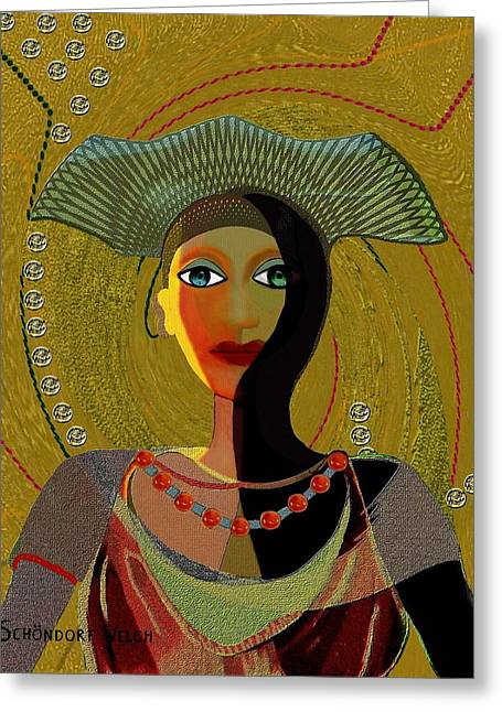 Lovely Digital Art Greeting Cards - 052 -   Nana Golden Greeting Card by Irmgard Schoendorf Welch