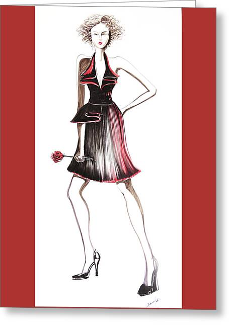 Evening Dress Drawings Greeting Cards - 06 Greeting Card by Malusa  Pinto