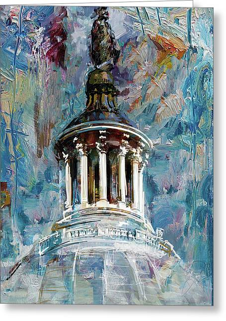 063 United States Capitol Dome Greeting Card by Maryam Mughal