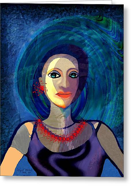 Red Necklace Greeting Cards - 066 - Woman with   necklace Greeting Card by Irmgard Schoendorf Welch