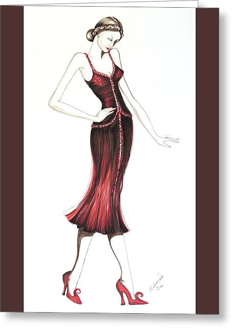 Evening Dress Drawings Greeting Cards - 07 Greeting Card by Malusa  Pinto