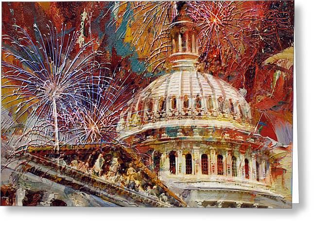United States Capitol Greeting Cards - 070 United States Capitol building - US Independence Day celebration fireworks Greeting Card by Maryam Mughal