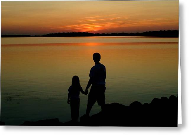 Mike Davis - Micks Pix Photos Greeting Cards - 070509-26   A Brother A Sister And A Sunset Greeting Card by Mike Davis - Micks Pix Photos