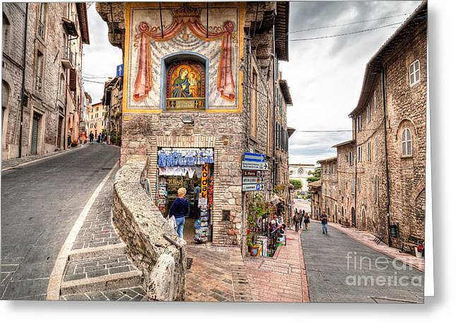 0755 Assisi Italy Greeting Card by Steve Sturgill