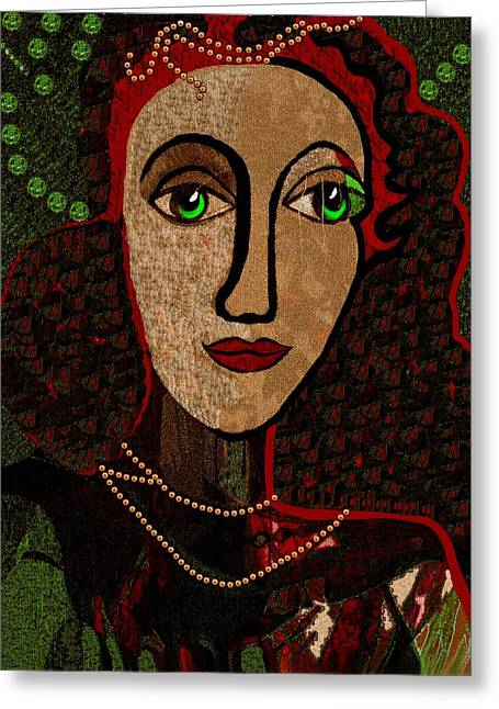 Pensive Digital Greeting Cards - 078 - Woman Pensive Greeting Card by Irmgard Schoendorf Welch