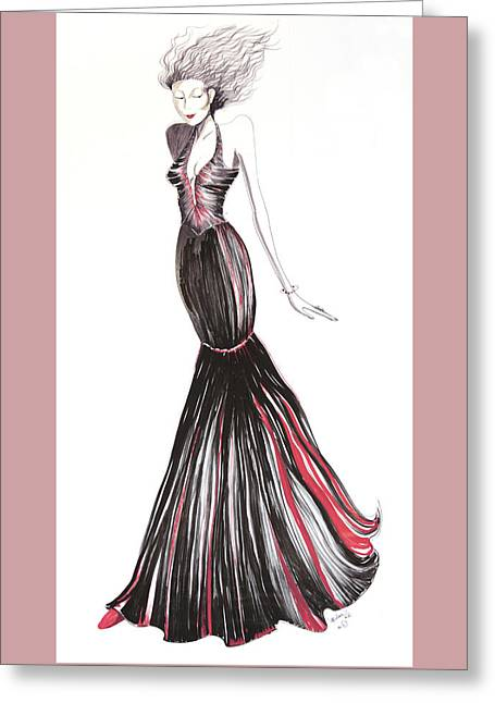 Evening Dress Drawings Greeting Cards - 08 Greeting Card by Malusa  Pinto